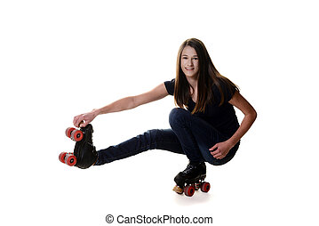 teen girl doing shoot the duck roller skate move on white...
