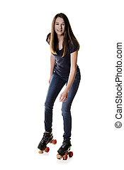 teen girl on quad roller skates