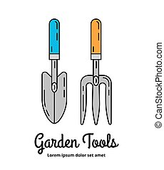 Farming equipment icons - Garden scoop and hand cultivator...
