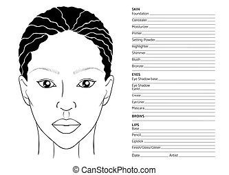 African female face chart blank for professional make-up...