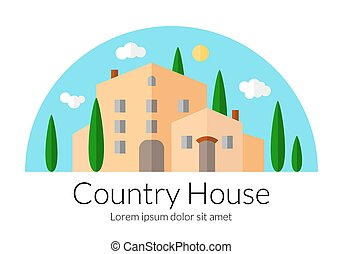Country house flat icon - Country house flat design....