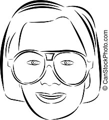 Girl face with glasses drawn by brush
