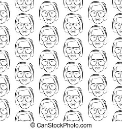 Pattern of women's faces in glasses