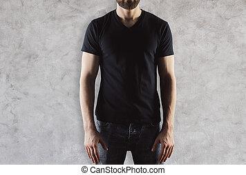 t-shirt, svart,  man