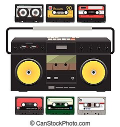 Retro record player with stereo cassettes over white...