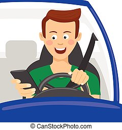 Young man using his smartphone behind the wheel. Problem...