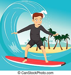 Male surfer riding large blue ocean wave near the tropical island with palm trees
