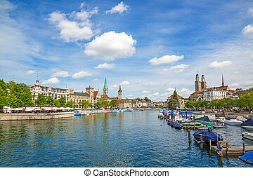 Zurich panorama with Grossmunster, Fraumunster and Sankt...