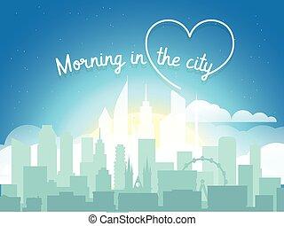 oficina, moderno, mañana, Casas, vector, Cityscape, builngs,...