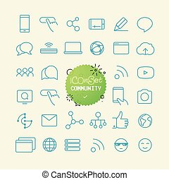 Outline icon set. Web and mobile app thin line icons....