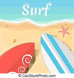Surfboards and a starfish on the ocean. Opening of the summer season. Relax on the beach. Vector illustration