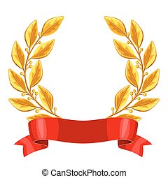 Realistic gold laurel wreath with red ribbon. Illustration of award for sports or corporate competitions