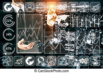 Touch screen concept - Businessman drawing abstract business...