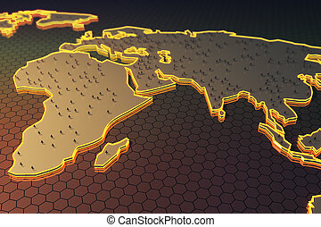 Globalization concept - Abstract map with small...