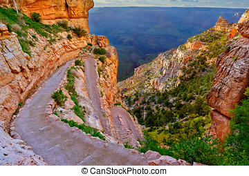 Twisting South Kaibab Trail at Grand Canyon Arizona - A view...