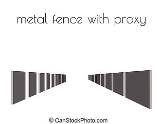 metal fence silhouette on white background