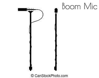 Boom Mic silhouette on white background