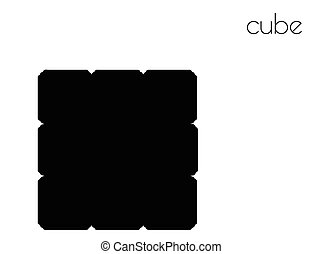 cube silhouette on white background