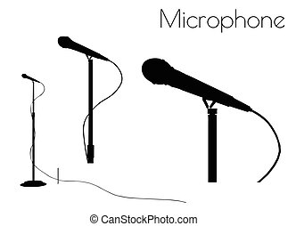 microphone silhouette on white background