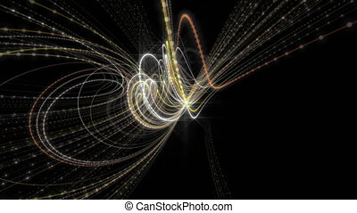 Futuristic animation with glowing particle stripe object in...