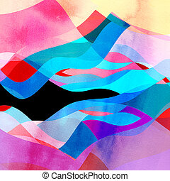 Abstract background of bright wavy design - Abstract...