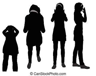 Muslim woman silhouette in pray pose - EPS 10 vector...