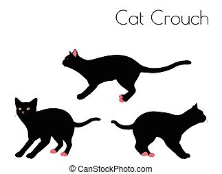 cat silhouette in Crouch Pose