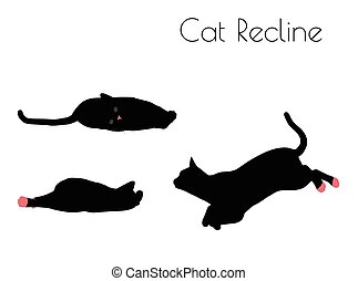 cat silhouette in Recline Pose - EPS 10 vector illustration...