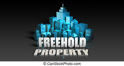 Freehold Property Concept in Blue on Black Background