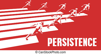 Persistence with Business People Running in a Path