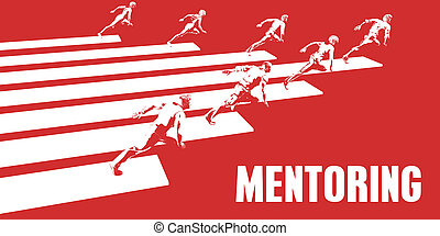 Mentoring with Business People Running in a Path