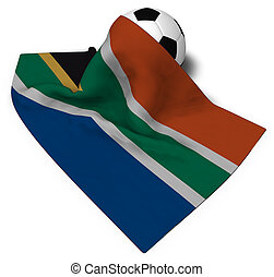soccer ball and flag of south africa - 3d rendering