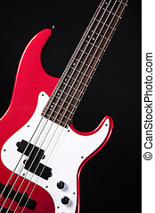 Red Electric Guitar Isolated On Black
