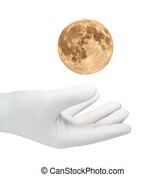 white Hand - A hand in a white glove catches the moons.