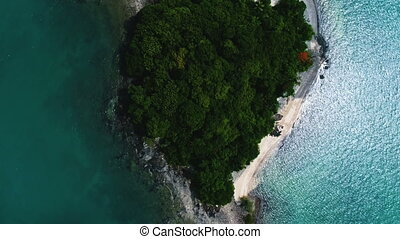 Aerial view of the tropical island and sea - Aerial top view...