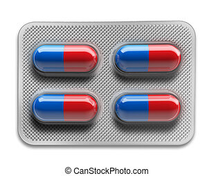 Red and blue pills in blister packaging isolated on white background