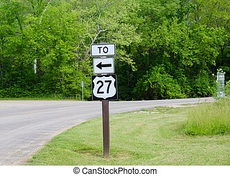 Route Sign - The route sign on the side of the road,