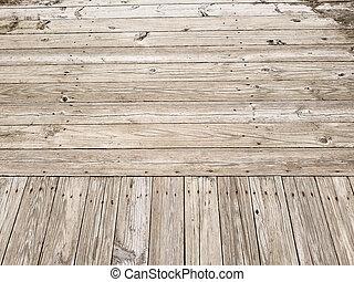 Wood Plank Boardwalk - Weathered wood plank boardwalk for...