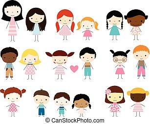 CÙte, Kinder, Gruppe, mädels,  -, knaben, Figuren, Stock