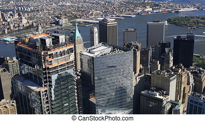 Aerial view of Downtown Manhattan - An aerial view of...