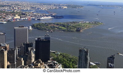 Aerial view of Governors Island off Manhattan