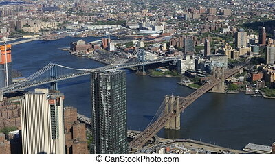 Aerial view of Brooklyn and Manhattan Bridges