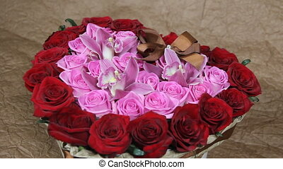 Red roses and orchid flowers bouquet romantic romance love