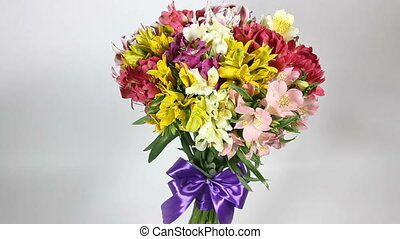 colorful flowers bouquet of alstroemeria turns - colorful...
