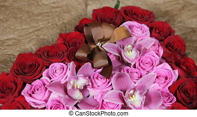 Beautiful bouquet with brown bow