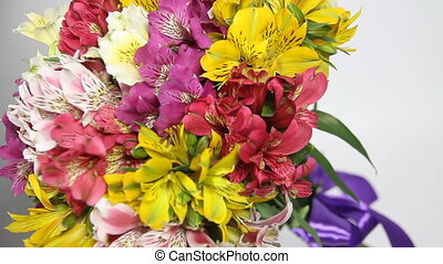 colorful flowers bouquet of alstroemeria turn. Camera at an...