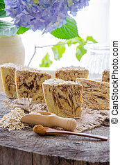 homemade oats soap - homemade oats and cinnamon soap using...