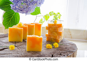homemade orange and dandelion herbal soap - homemade orange...