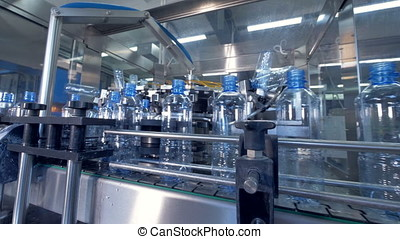 Main guide rails of filling water station. - Main rails line...