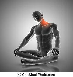 3D male figure in neck stretch pose